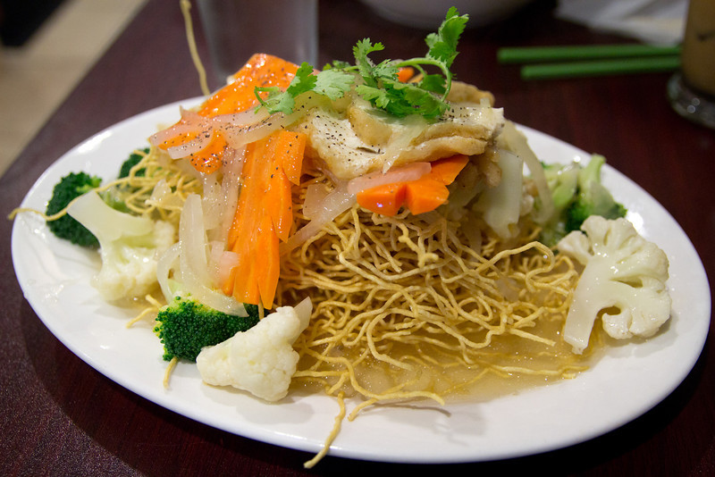 10/07/2012 - Crispy egg noodle with tofu and vegetables from Pho Viet in DC