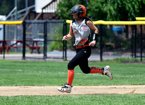7/27/2018 Mike Orazzi | Staff Ella McNeff (00) during Friday's championship game with Rhode Island during the Eastern Regional Little League final at Breen Field in Bristol.
