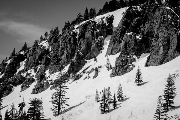 April 1 - The sky, a mountain, some trees and four skiiers, Mammoth Lakes, CA.jpg