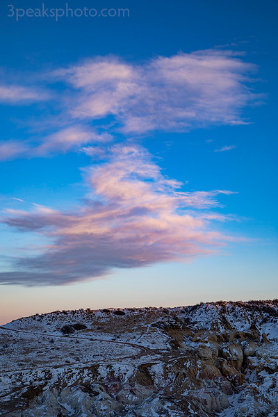 This cloud showed up at just the right time. It was cool to see the Paint Mines blanketed in snow.