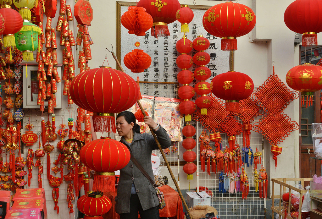 . Chinese lanterns are seen on sale at a Chinese New Year street fair on the eve of the holiday in Shanghai on January 30, 2014. AFP PHOTO/Peter PARKS/AFP/Getty Images