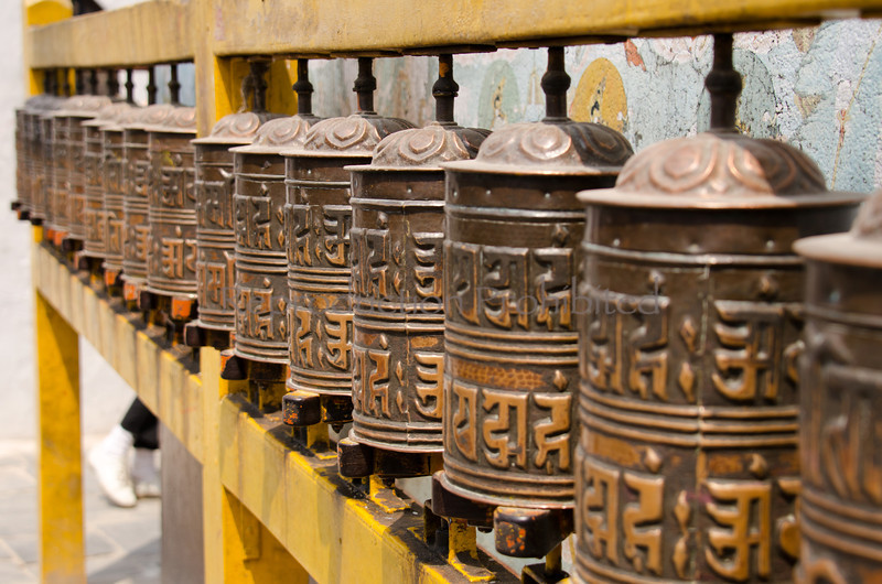 Prayer Wheels Boudhanath Stupa, Nepal