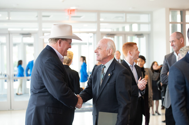 President Emeritus Dr. Robert Furgason greets guests during TAMU-CC's Furgason Engineering Building naming ceremony on December 7, 2018 at Texas A&M University-Corpus Christi.