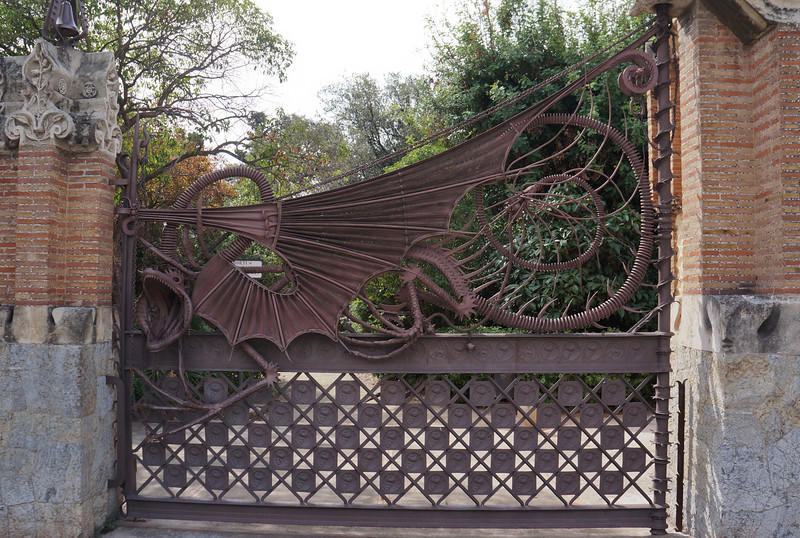 Wrought iron dragon gate at the entrance to Finca Guell, designed by Gaudi.