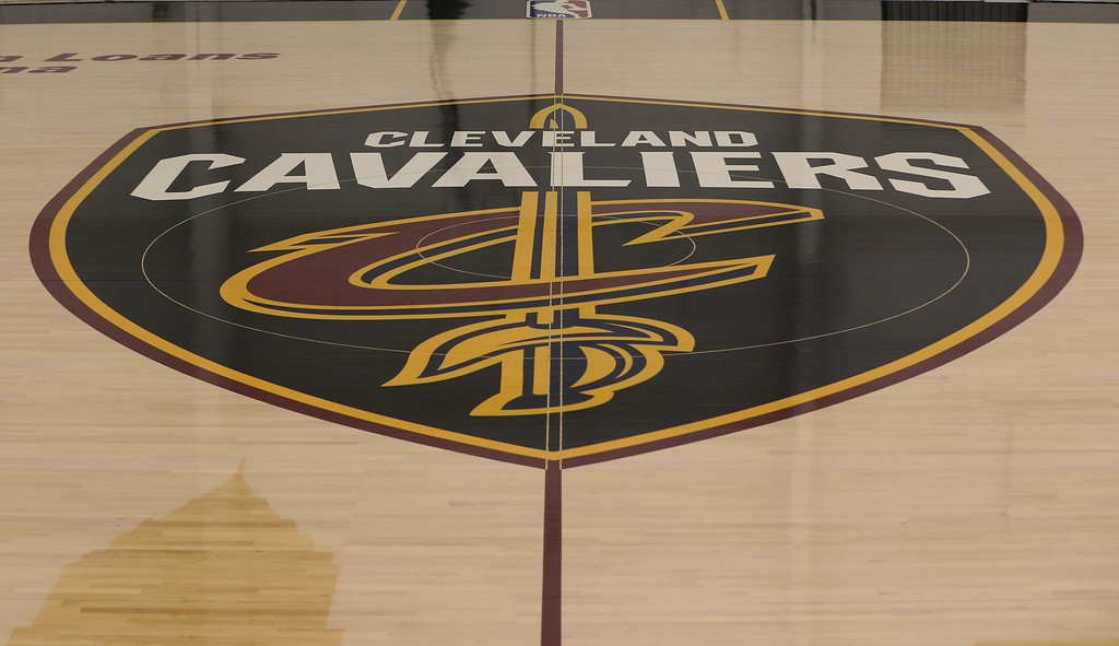 . Displayed at center court is the team�s recently introduced global logo, �The Shield,� which salutes Cleveland�s emergence, and the Cavaliers prominent brand presence within the international marketplace. (Courtesy Cleveland Cavaliers)