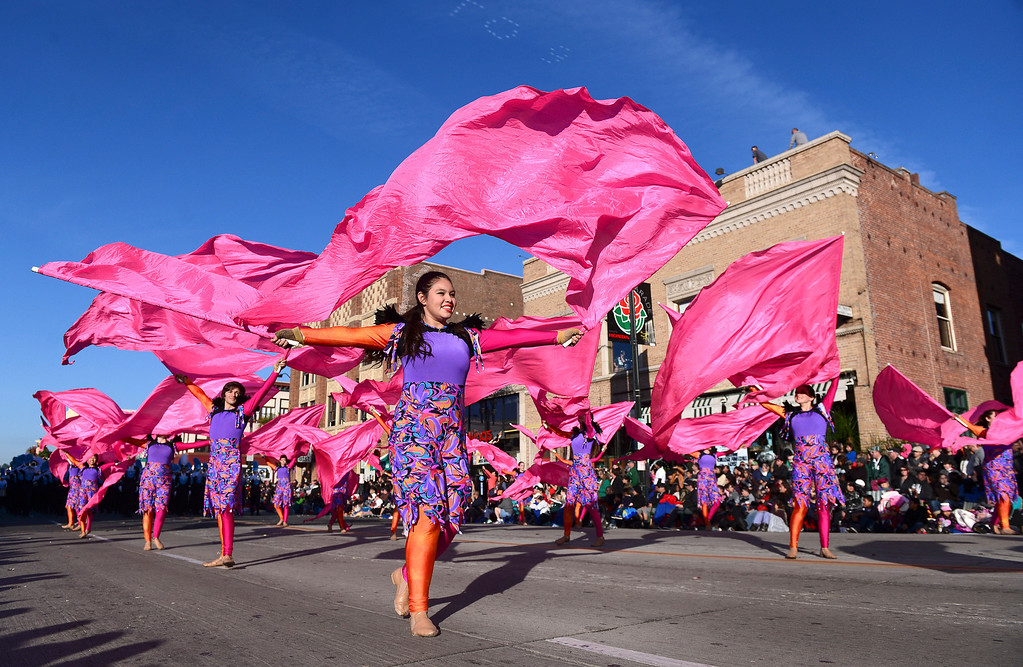 ". ""Lady Bird\"" Johnson High School Marching Band heads down Colorado Boulevard during the 125th Rose Parade in Pasadena, CA January 1, 2014. (Photo by Sarah Reingewirtz/Pasadena Star-News)"