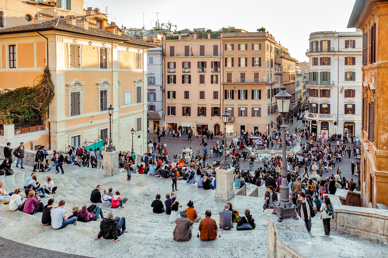 Spanish Steps and Piazza di Spagna with tourists in Rome, Italy