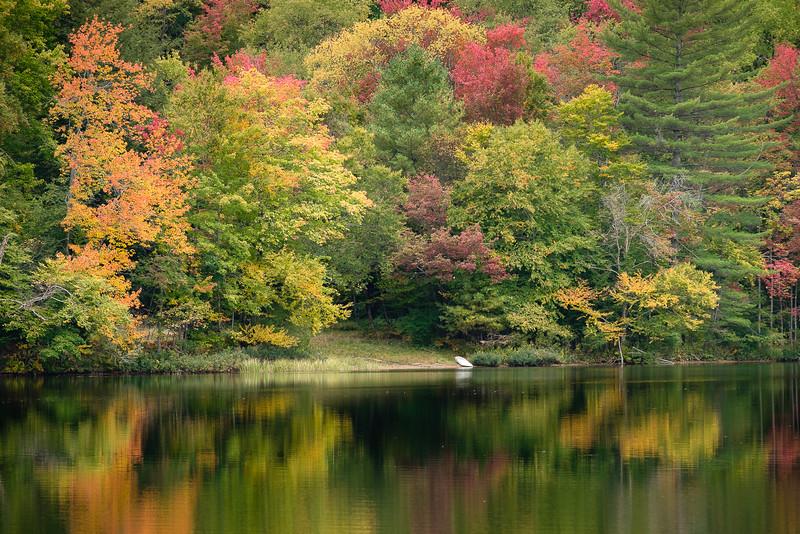 Fall Foliage and Still Water at White Lake NY