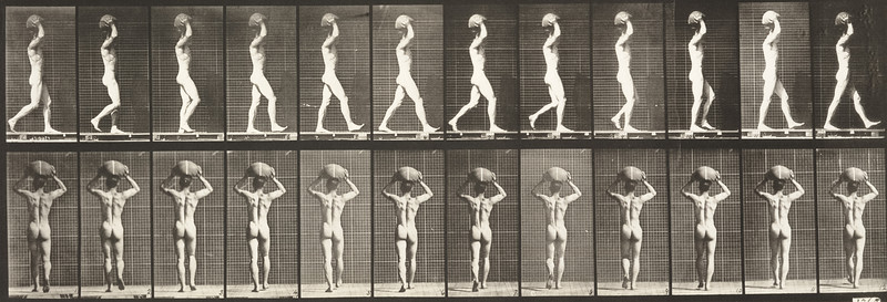 Nude man walking and carrying a 75 lb. stone on head, hands raised (Animal Locomotion, 1887, plate 27)