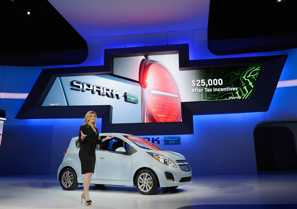 Description of . LOS ANGELES, CA - NOVEMBER 28:  Pamela Fletcher, GM's Global Chief Engineer for Volt and Plug-In Hybrid, speaks after unveiling the new 2014 Chevy Spark EV electric vehicle during the Los Angeles Auto show on November 28, 2012 in Los Angeles, California. The LA Auto Show opens to the public November 30 and runs through December 9.  (Photo by Kevork Djansezian/Getty Images)