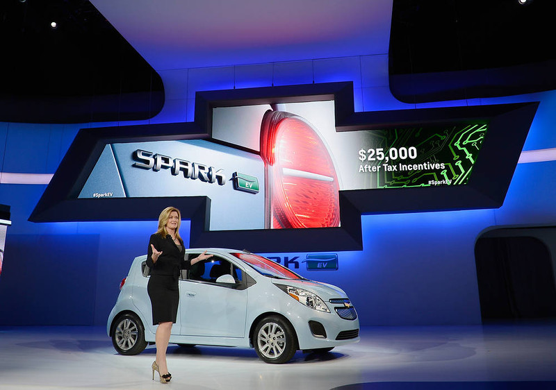 . LOS ANGELES, CA - NOVEMBER 28:  Pamela Fletcher, GM\'s Global Chief Engineer for Volt and Plug-In Hybrid, speaks after unveiling the new 2014 Chevy Spark EV electric vehicle during the Los Angeles Auto show on November 28, 2012 in Los Angeles, California. The LA Auto Show opens to the public November 30 and runs through December 9.  (Photo by Kevork Djansezian/Getty Images)
