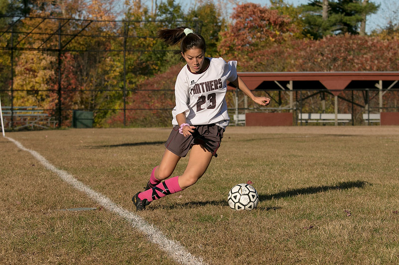 Fitchburg High School girls soccer played Ayer Shirley Regional High School on Tuesday, Oct. 15, 2019 in Fitchburg. ASRHS's #23 Julia Dupont. SENTINEL & ENTERPRISE/JOHN LOVE