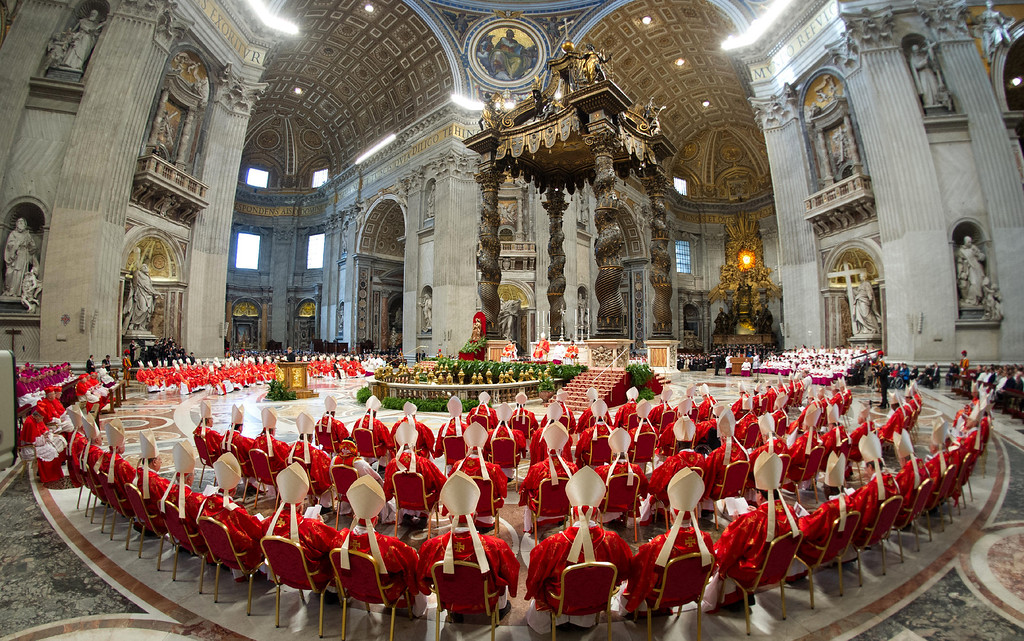 . This handout picture released by the Vatican Press Office on March 12, 2013 shows cardinals following a grand mass at the St Peter\'s basilica before the start of a papal election conclave on March 12, 2013 at the Vatican. AFP PHOTO/OSSERVATORE ROMANO-/AFP/Getty Images
