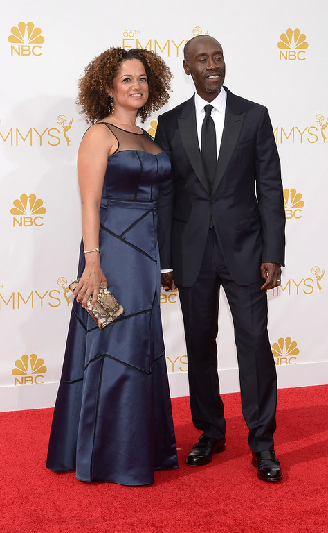 . Don Cheadle and Bridgid Coulter on the red carpet at the 66th Primetime Emmy Awards show at the Nokia Theatre in Los Angeles, California on Monday August 25, 2014. (Photo by John McCoy / Los Angeles Daily News)