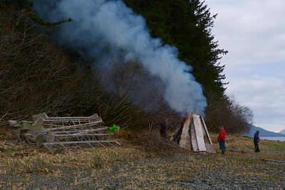 Burning The Wood Debris May 2013, Cynthia Meyer, Chichagof Island, Alaska