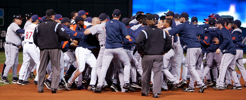 . The Detroit Tigers and the Cleveland Indians fight on the field during a bench-clearing brawl in the seventh inning in a baseball game, Friday, Sept. 19, 2008, in Cleveland. The Indians won 6-5.  (AP Photo/Tony Dejak)