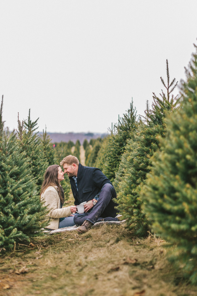 Lizzie and Craig's Christmas tree engagement shoot at Graver Farm with coffee cups.