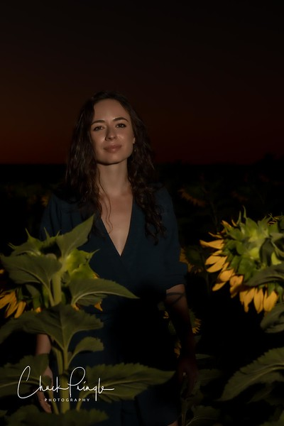 Natalie in the Sunflowers and the Barn