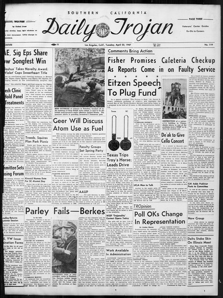 Daily Trojan, Vol. 38, No. 119, April 22, 1947