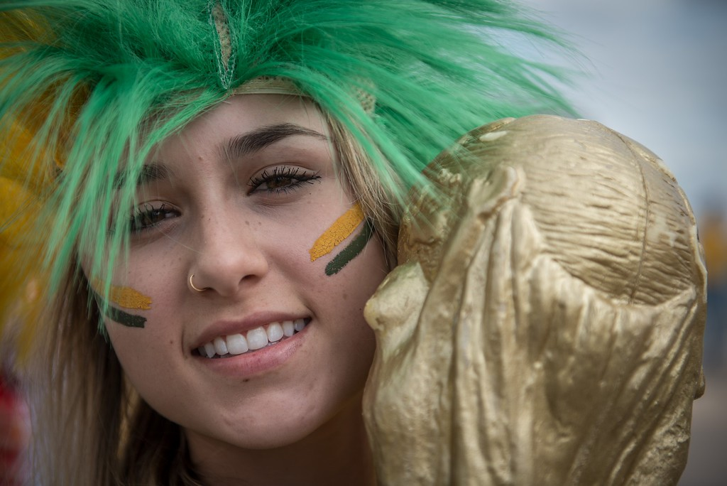 . A fan of Brazil arrives at Mineirao stadium, in Belo Horizonte, Brazil, before the start of the FIFA World Cup semi-final match between Brazil and Germany, on July 8, 2014.  AFP PHOTO / GUSTAVO  ANDRADE/AFP/Getty Images