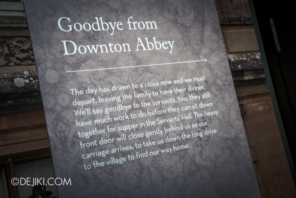 Downton Abbey The Exhibition - Goodbye