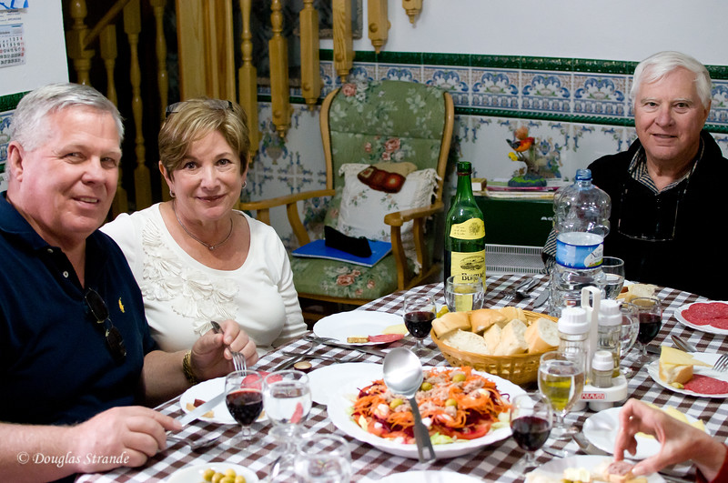 Sun 3/13 in Malaga: Our home-hosted dinner.  AJ, Debbie, and Jack pause for a picture.