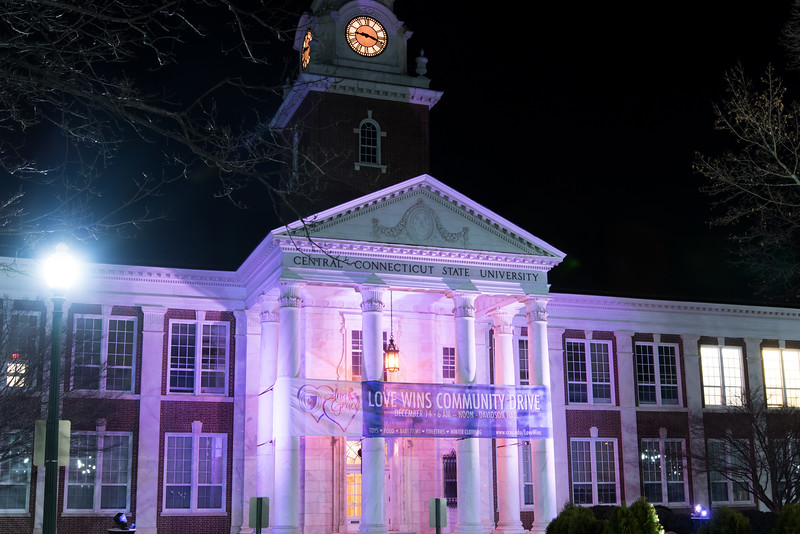 12/05/18  Wesley Bunnell | Staff  CCSU's Davidson Hall is lit purple for the Love Wins Community Drive sponsored by the Anna Grace Project.