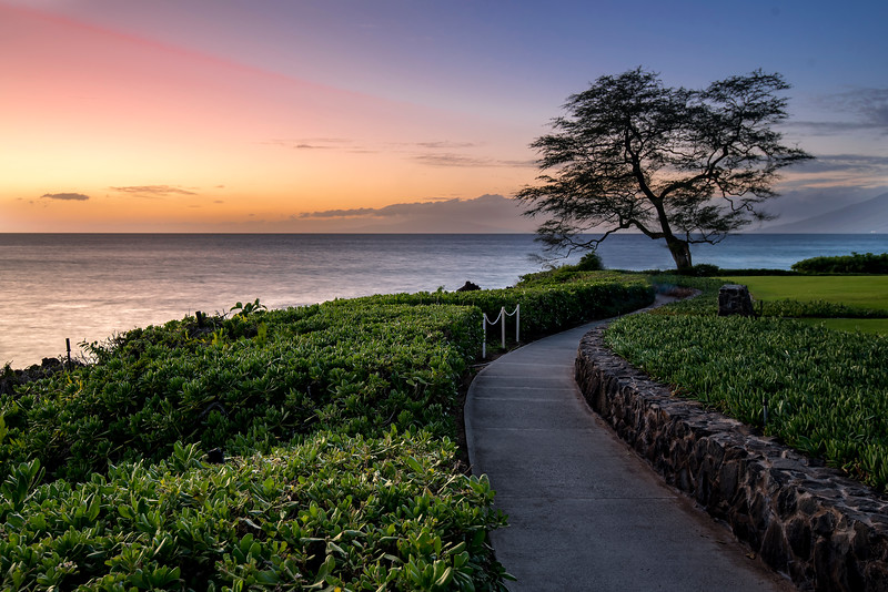 Beach side walk path at sunset, Maui, Hawaii