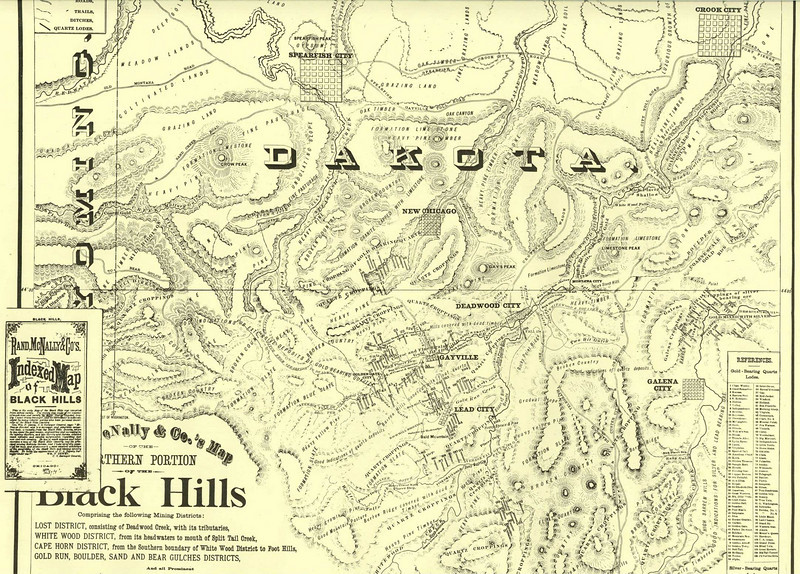 """Thanks to Jerry Bryant for making available this <i> Rand McNally & Co.'s Map:  Northern Portions-Black Hills,</i> dated 1877.  <b>To better read the finer print, click on the image and select the desired size from the menu at the top of the page.</b>  The map plate carries the following message:  <font size=""""1""""><b><i>This is the only Map of the Black Hills ever compiled from actual survey.  The survey was made at the expense of much time and money, by Major George Henckel, Deputy United States Surveyor, and its correctness is acknowledged by many reliable parties who have personal knowledge of the Black Hills Country.  Gen. Wm. P. Dewey, U.S. Surveyor General says: """"Mr. George Henckel, who is a surveyor, and otherwise competent man, is recently from the Black Hills, Dakota, where he has spent the past season, engineering and surveying in the mining districts, and has thereby and therein collected much valuable and reliable information regarding that new and rich country.  He has at much expense and labor executed a map of the Black Hills Country, and the principal mining districts therein, and I have carefully examined his map, and pronounce it a most excellent exhibition of the geography of the Black Hills and mining country….  He holds the appointment of U.S. Deputy Surveyor under me."""" WM. P. DEWEY,   U.S. Surveyor General</font></b></i>"""