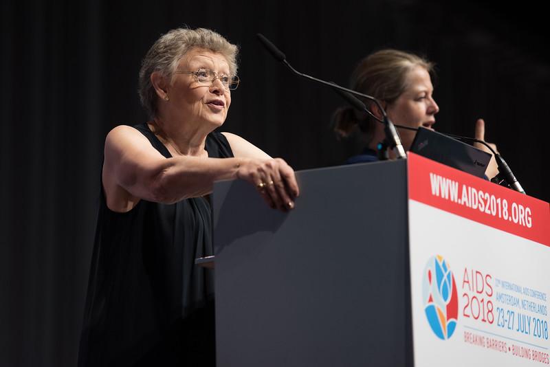 22nd International AIDS Conference (AIDS 2018) Amsterdam, Netherlands   Copyright: Marcus Rose/IAS  Photo shows: Plenary Session. Françoise Barré-Sinoussi, Institut Pasteur, France
