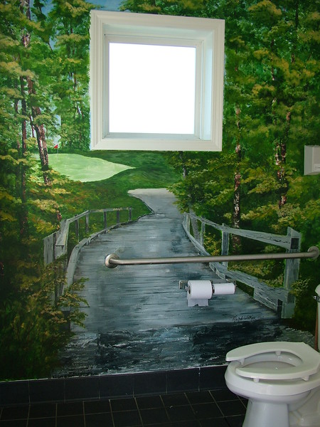 Michele did this painting in one of the Men's bathroom's at the Golf Club