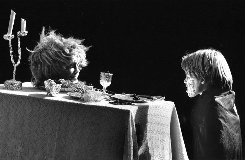 . 1985: Vampire James Wilke, 12, and head-on-a-table Chris Barron, 11, at a costume contest. (Jim Gensheimer, Mercury News)