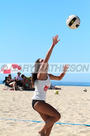 College Girls Beach Volleyball Games in Huntington Beach Ca.