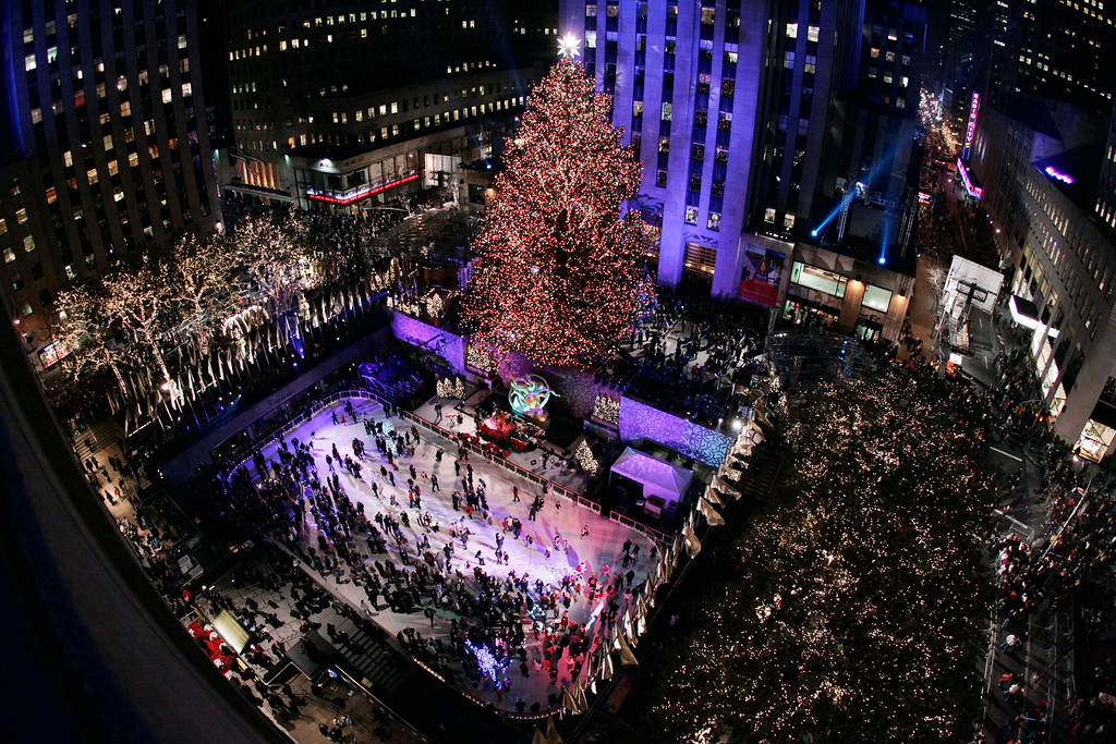 . The Rockefeller Center Christmas tree stands lit at the 74th annual Rockefeller Christmas tree lighting ceremony Wednesday, Nov. 29, 2006 in New York. (AP Photo/Julie Jacobson)