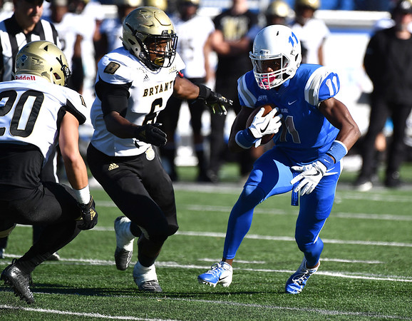 10/19/2019 Mike Orazzi | StaffrCentral Connecticut State University 's Jiovaney Pierre (11) during Saturday's football game with Bryant in New Britain.