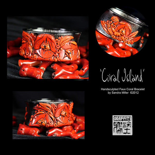 """CORAL ISLAND  Exquisite hinged cuff bracelet in Faux Coral    Ever since my 2011 Trunk Show I have received dozens of requests to repeat the elaborate cuff bracelet I made.  I finally found a few of the same high end hinged cuffs and am pleased to offer 3 different designs at this 2012 Show    The foundation for the bracelet as I mentioned is a sturdy, slightly oval shaped hinged cuff which stays very securely closed with pressure from the spring hinge on one side.  The finish is a richly textured dark gunmetal grey.  The oval shape stays in place without flipping on the wrist much better than a round cuff.    To this exquisite blank """"canvas"""" I added  4..count em..FOUR  handsculpted and carved polymer clay Chows, nestled in an ISLAND PARADISE in the softly concave recess of the bracelet .  The scene with 3 adult chows covers one entire side  of the  cuff, while a swath of stylized tropical leaves and an inquisitive chow puppy also in Faux Coral is featured on the back side       The FAUX CORAL I create from polymer clay which was painstakingly layered, thinly sliced and layered again and again to bring out the rich orange/red tones and translucent quality  of real  branch coral!!!   You can see the real coral in the background of many of the photos for comparison.     After firing , the entire pendant was covered in black paint (always a """"cringe"""" moment ) and baked on , followed by hours of sanding and buffing off the paint to reveal the exquisite details of the sculpting beneath. It looks for all the world like finely finished coral without the weight or high price tag of the real deal!!    No one gets kicked off the island in this featured performance!!!!  It is one incredible piece..I mean INCREDIBLE!!!            STRONG HINGED OVAL CUFF   Fits small to medium wrist  INSIDE CIRCUMFERENCE   7 1/2"""" closed  INSIDE OVAL DIMENSIONS   2 1/4"""" X 2 1/2""""   CUFF MEASURES 1 1/4"""" wide across front and back"""