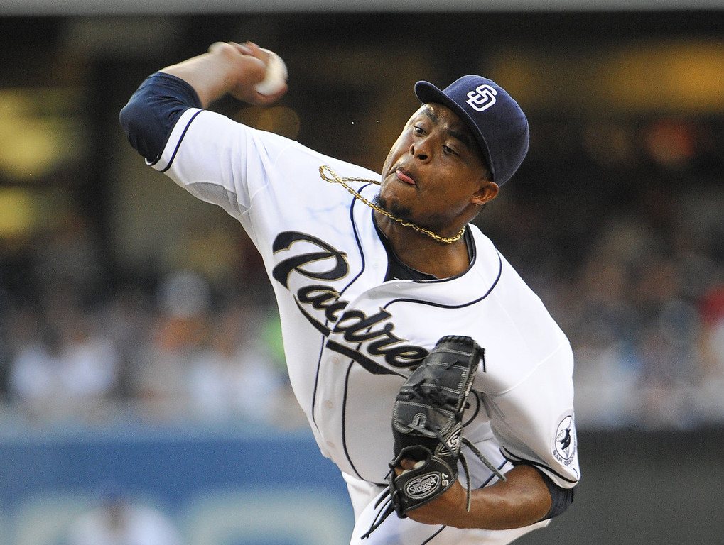 . Edinson Volquez #37 of the San Diego Padres pitches during the first inning of a baseball game against the Colorado Rockies at Petco Park on July 8, 2013 in San Diego, California.  (Photo by Denis Poroy/Getty Images)