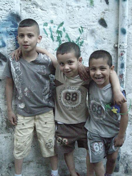 kids in the Muslim Quarter of old Jerusalem