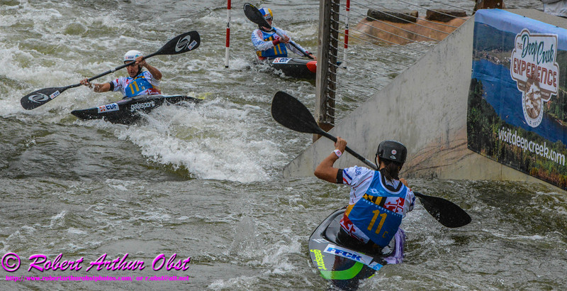 """Gold medalists and World Champions Kayak Single WOMEN or K-1W TEAM France BOUZIDI Carole and NEWMAN Nouria and FER Emilie FINAL runs - Final Rank 1st out of 13 K-1W Teams - on 21 SEPT 2014 at the 2014 ICF 'Deep Creek 'World Championships at the Adventure Sports Center International site near Deep Creek Lake and McHenry MD USA"" (USA MD McHenry; Obst Photos Nikon D800 Adventures in Paddlesport Competition Images)"
