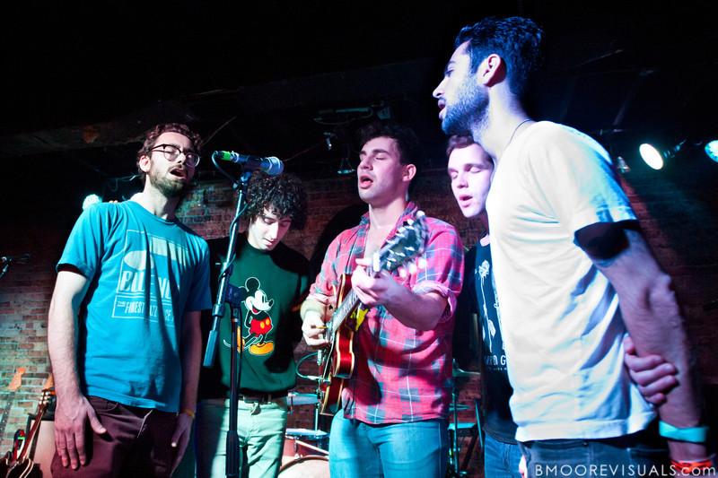"Jon Shiffman, Evan Winiker, Jack Antanoff, Justin Huey, and Daniel Silbert of Steel Train perform ""Road Song"" on December 7, 2010 at Orpheum in Ybor City, Tampa, Florida"