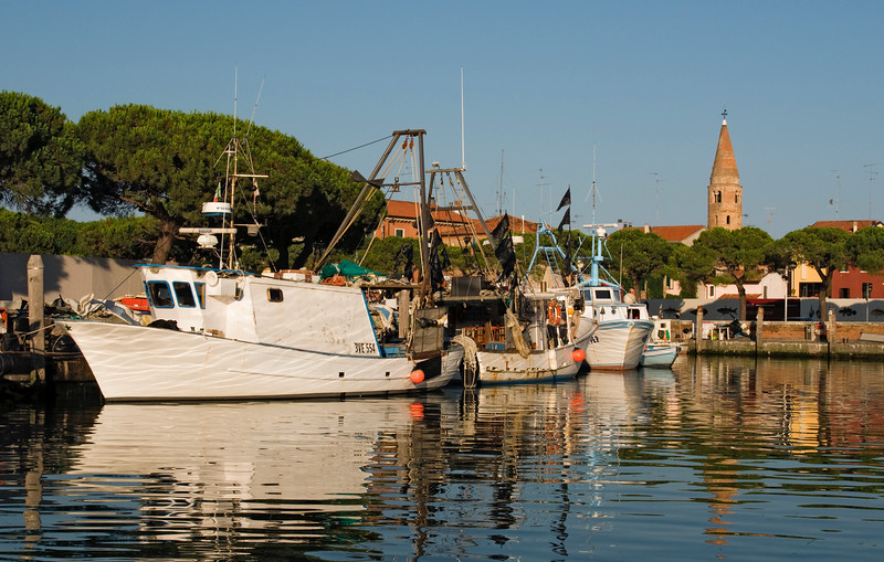 Boats on Canal and Campanile, Caorle, Italy