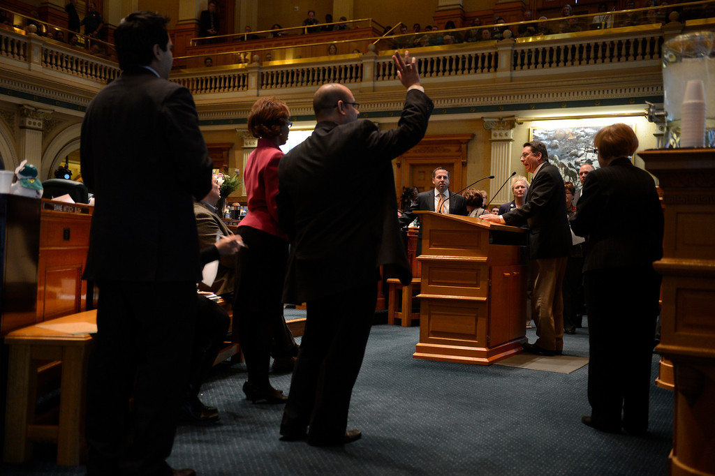. DENVER, CO. - FEBRUARY 15: Opposing Representatives line up to speak as Representative Jerry Sonneberg gives argument against HB 1224 prohibiting large capacity ammunition magazines in the Colorado House at the Denver State Capitol February 15, 2013. Denver, Colorado. (Photo By Joe Amon/The Denver Post)
