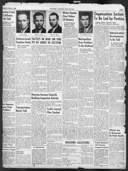 Southern California Daily Trojan: U.S.C. Institute of Government, Vol. 7, No. 1, June 10, 1940