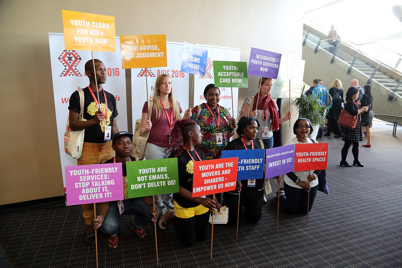 21st International AIDS Conference (AIDS 2016), Durban, South Africa. Wednesday 20 July : Venue DURBAN ICC People with protesting in the building Photo©International AIDS Society/Abhi Indrarajan
