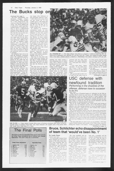 Daily Trojan, Vol. 87, No. 60, January 03, 1980