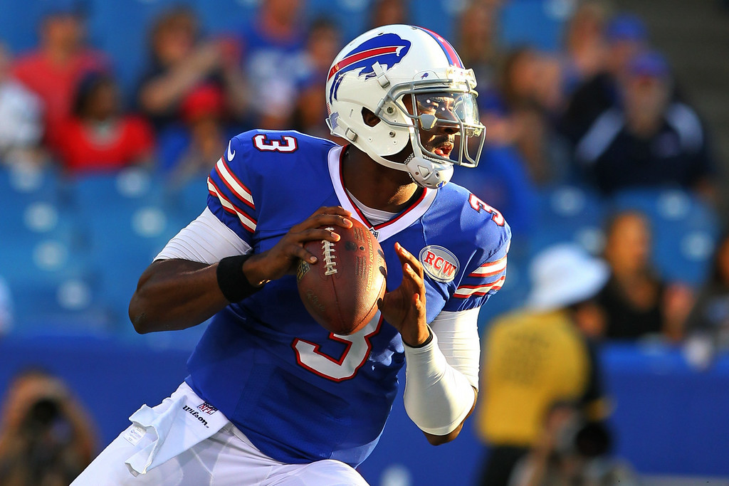 . Buffalo Bills quarterback EJ Manuel (3) looks to pass against the Detroit Lions during the first half of a preseason NFL football game, Thursday, Aug. 28, 2014, in Orchard Park, N.Y. (AP Photo/Bill Wippert)