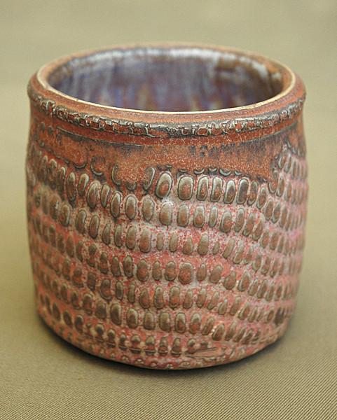 "cupp with corn texture - 3"" x 3"" - layered glazes"
