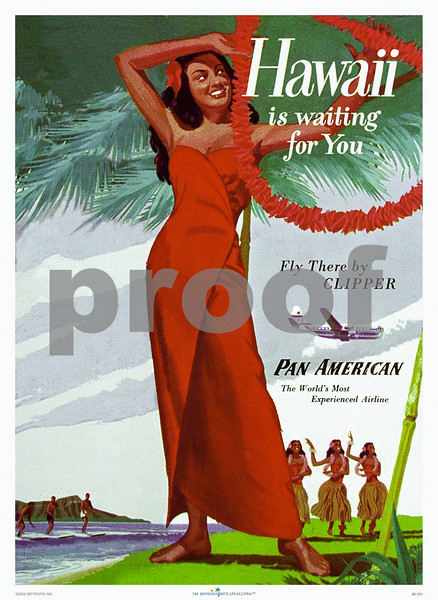 212: Print or Art Poster of Vintage Pan American Brochure Cover: 'Hawaii Is Waiting For You.' Print, based on Pan Am Airlines travel brochure from around 1949, showing a gracious 'wahine' playing with a lei with three hula dancers in the background and several surfers riding the waves, with behind them Diamond Head, and in the air Pan Am's flagship the 'China Clipper.' (PROOF watermark will not appear on your print)