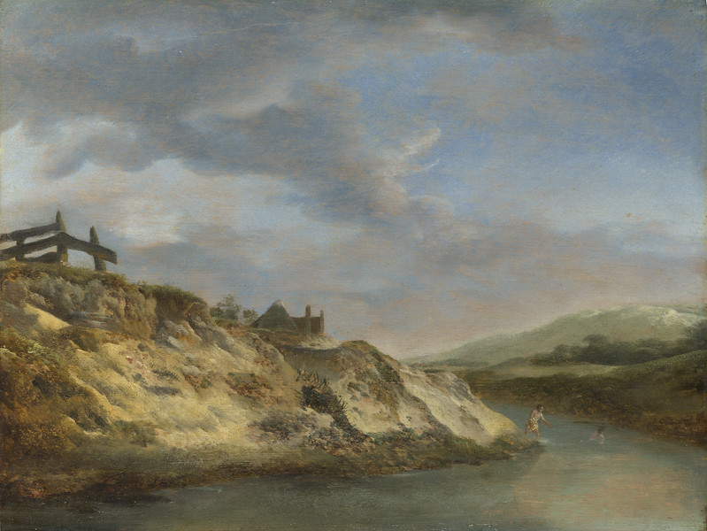 A Stream in the Dunes, with Two Bathers