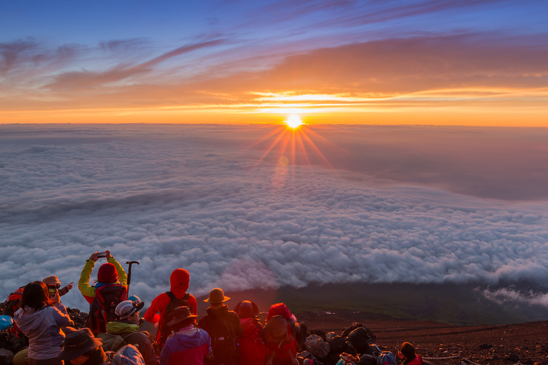 Sunrise from the summit of Mt Fuji. Editorial credit: Nonchanon / Shutterstock.com